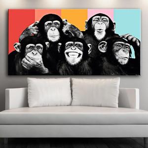 Pinturas Monos divertidos Graffiti Lienzos Pósteres Lámina And Prints modernos Animales Arte de la pared de la lona representa Niños habitación Decoración