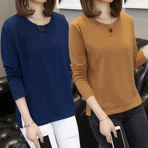 Banerdanni Kadınlar Tişörtü 2020 Sonbahar Yeni varış Uzun kollu O-Boyun Casual Tshirt İçin Kadınlar Temel Üst Büyük boy 5XL Tees