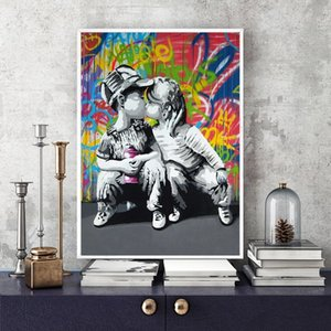 Modern Abstract Wall Art Graffiti Oil Painting Fashion Boy and Girl Wall Art Picture Personalized Poster for Living Room Bedroom Home Decor