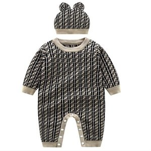 Autumn Winter Infant Clothes Warm Baby Rompers Newborn Boy Girl Knitted Sweater Jumpsuit Hooded Kid Toddler Outerwear + Hat 0-24 Month