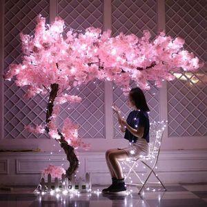 Ramificación del flor de la boda de flores de seda 100cm largo Melocotón Sakura artificial Flor rosa cereza decoración para el hogar decoración de la boda Arco
