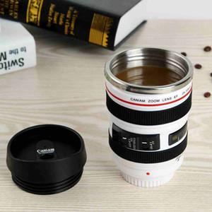Kapaklar ZZA2451 Deniz Nakliye ile 5 Nesil Kamera Lens Kahve Kupa 400ml Paslanmaz Çelik Termos Bardak Seyahat Kamp Kahve Bardaklar