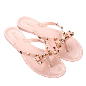 Designer Summer Slippers Fashion Bowknot Pearl Flip Flops Women Flats Open-Toe Slippers Fashion Flip-Flops Beach Shoes girl