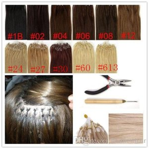 """LUMMY Silicone Micro Rings Loop Hair Extensions 16""""-24"""" Indian Remy Human Hair 1G S 100S Pack Silk Straight"""