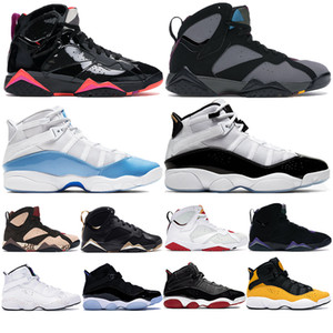 UNC 6 Anéis Mens tênis de basquete 6s Ginásio Vermelho Taxi Concord Space Jam Bred 7s South Beach bordeaux preto patente Zapatos Formadores Sneakers
