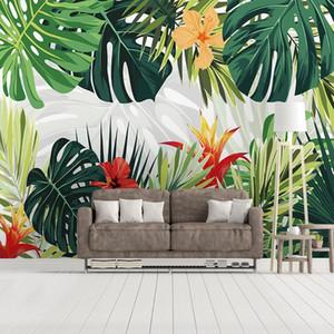 Custom 3D Wall Murals Wallpaper Home Decor Plant Green Leaf Modern Pastoral Living Room Bedroom Wallpaper Mural Wall Covering