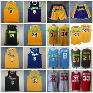 Vintage Lakers HommesKobeBryant 34 Shaquille O'Neal 44 Jerry Ouest 22 Elgin Baylor Basketball Maillots Shorts Stitched Retro