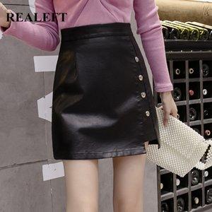 REALEFT Autumn Irregular Vintage Black Sexy Wrap Short Skirts 2020 Button High Waist PU Leather Sheath A-Line Mini Skirts Female
