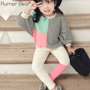 Humor Bear 2Pcs Autumn Baby Girl Clothes Girl Clothing Set Cute Long Sleeve Top+Pants Suit Kids Splice Children Clothes