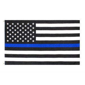 USA-Flagge Direkte Fabrik-Großhandel 3x5Fts 90cmx150cm Law Enforcement Officers USA US amerikanische Polizei Thin Blue Line Flag EEA1786
