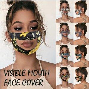 Видимый Рот Face Cover ПЭТ Печать анти туман Прозрачная маска для лица Мужская Открытый анти пыли дышащий Дизайнерские Маски DDA183