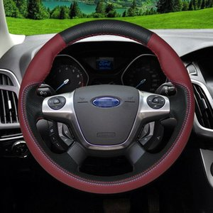 Custom Made DIY Anti Slip For Ford Focus Sport Red leather hole leather Hand Sewing steering wheel cover