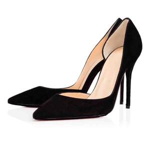 Siyah Çıplak Sheepskin Deri Kadın Ayakkabı Alt Iriza Ayakkabı kırmızı, İtalya Luxe Kadınlar Kırmızı Taban Yüksek Topuklar Parti Elbise Flats Topuklu