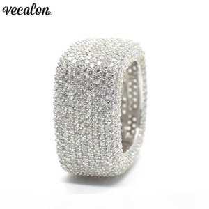 Vecalon Luxury Promise Ring 925 sterling silver Micro Pave 450pcs Diamond Cz Engagement Wedding band rings for women Men Jewelry