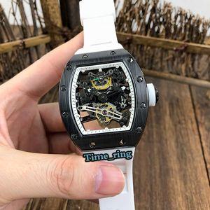 베스트 판 RM38-01 해골 블랙 세라믹 케이스 일본 미요 자동 운동 RM38-01 남성용 시계 화이트 러버 스트랩 디자이너 시계 다이얼