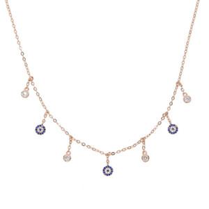 35 + 10 centímetros cadeia Colar Eye Mini Mal Delicate Mulheres Colar do encanto com o azul colares pedras OLHO