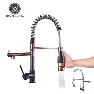 Black and GOLD Kitchen Mixer Faucet Deck Mounted Dual Spout Kitchen Sink Crane Taps Chrome Finish Handheld Sprayer Shower Head T200424