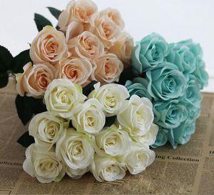 Роскошные Искусственные Carter Розы 12 Главы 1 гроздь розы Домашнее украшение Pompom Diy Шелковый букет Свадебная ваза Artificiales Florals Deco