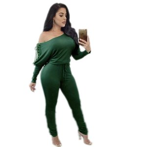 Women off Shoulder Batwing Sleeve Hollow Out High Waist Thin Lace Up Jumsuit Rompers Casual Jumpsuit for Ladies Female 2020