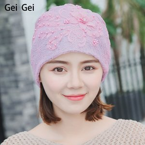 Women winter fashion flowers lace beanie horse braid elegant thin section outdoor ski warm wool hat beads decorative knitted cap