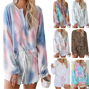 Fashion tie-dye pajamas summer 2020 new comfortable breathable long-sleeved wooden ear side home wear two sets of women shorts
