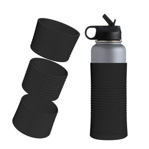 Silicone Sleeve for Water Bottle Insulation Cup Non-slip Bottom Cover Sports Bottle Coaster Fit 24oz Tumbler Cover Mats A03