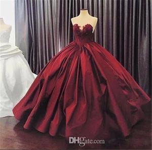 Vintage Burgundy Quinceanera Modelleri Balo 2020 Sweetheart Lace Up Kat Uzunluk Masquerade Örgün Balo Abiye İçin Tatlı 15-16 Kızlar