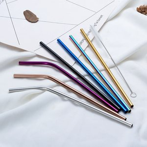 Colorful 304 Stainless Steel Drinking Straw 21.5cm Straight Bent Reusable Straws Juice Party Bar Accessorie