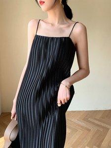 20200710 Summer new stripe long sexy suspender dress