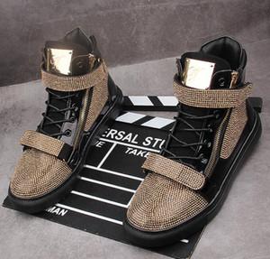 золотой горный хрусталь Мужская кроссовки платформа вскользь Хип-хоп панк мужской высота увеличения обувь молнии ботильоны Zapatillas Hombre