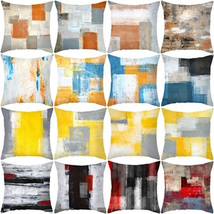 Abstract Painting Cheap Throw Pillow Covers Polyester Peach Skin Decorative Pillow Covers 40 design Sofa Square Pillow Covers BH19039