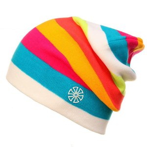Outdoor Beanies Cap Casual Striped Knitted Hat Sportwear Snowboarding Riding Skiing Skating Cycling Motocycle Apparel Headwear