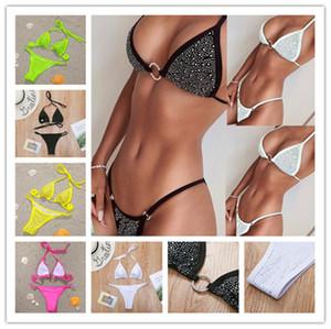 Summer Diamond Strass Bikini Set per donne Vest Vest Bras + Pantaloncini Costume da bagno Costume da bagno Costumi da bagno Costumi da bagno Costumi da bagno Swimwear Swimming Set da bagno LY703