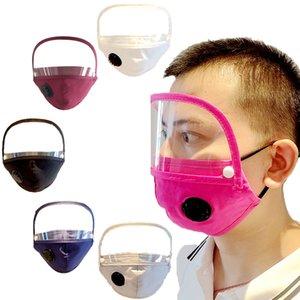 Abnehmbare Erwachsener Ventil Baumwolle Masken Staubdichtes Mund Gesichtsmaske mit Sichtfenstern Visible-Augen-Schild soliden Anti-Staub-Masken CYF4288