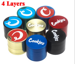 Cookies Tobacco Grinder Metal Alloy 4 Layers 40mm Herb Crusher Smasher Colorful Zinc Alloy Grinder Smoking Accessories