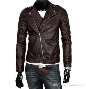 Mens Fashion PU-Leder Motorrad-Jacken-Revers Hals britischen Brown White Black Jacket Männer Langarm-Lederjacken S-5XL