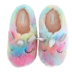 dropshipping unicorn slippers cortoon rainbow comfy home indoor warm women animal shoes Y200624