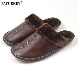 FAYUEKEY 2020 Nuovo Inverno Genuine Leather Pantofole Amanti coperta da terra per esterni calde pantofole scarpe di cotone Plush piatte