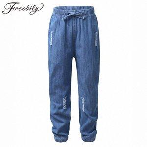 Летние детские брюки девушки вскользь брюки Kid Одежда Девушки Мода Soft Quick Dry Thin рваные джинсы Anti-Mosquito шаровары u9q8 #