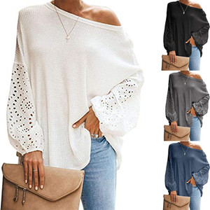 2020 New Clothing Cheap China wholesale European and American Women's Knits & Tees oblique collar hollow long sleeve off-shoulder T-shirt