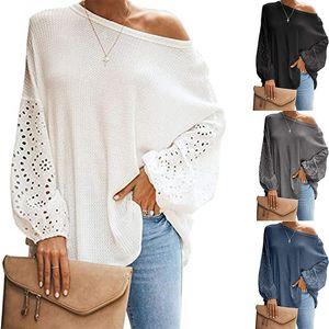 2020 New roupas baratas China atacado europeus e malhas das mulheres americanas Tees colar oblíqua manga longa oca off-ombro T-shirt