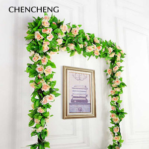 CHENCHENG 250 cm Fake Silk Roses Ivy Vine Wall Hanging Artificial Flowers with Leaves Home Wedding Decoration Garland Fall Decor