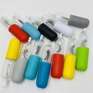 2020 Großhandel Capsule Pill Bottle Lashes Tray-Kasten Mehrfarben Wimpern Verpackungsschachtel Einzigartige Wimper Lagerung Verpackung Empty Box