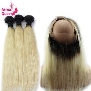 Ön Mızraplı Paketi Brezilyalı Saç Dokuma Paketler 1b 613 Blonde Düz 360 Bant Kapatma Atina Kraliçe Remy ile 360 Dantel Frontal