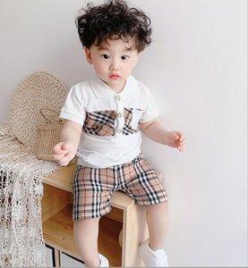 Новые дети дизайнер одежды бренда наборы мальчиков девушка Эпикировка малышей отдыха спортивный костюм карман футболка + шорты дети летний костюм
