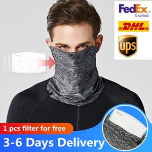 США STOCK, серый Велоспорт мужской Магия Head Защитная маска для лица Com Neck Gaiter байкера Труба Бандана Шарф Wristband Beanie Cap Спорт на открытом воздухе