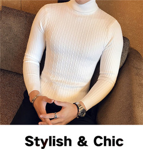 Outono e Inverno Mens Turtle Neck Sweaters Fashion Designer Slim Fit Manga comprida Tops sólidos Camisolas Cor