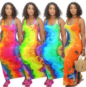 Designer donne maxi abiti lunghi Moda spalle senza maniche con stampa Pullover solido di colore S-2XL dei vestiti di estate più il formato 8817