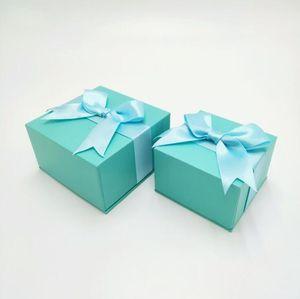 Bijoux fantaisie Boîte cadeau avec blanc Bow mignon Belle Rose Bleu Collier Boucles d'oreilles Bague d'anniversaire Coffrets cadeaux haute qualité en gros