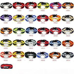 Estilos de la mezcla 32 del equipo de fútbol de Paracord supervivencia Pulseras por encargo del camping Deportes pulseras de logotipo del equipo paraguas